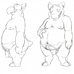 anthro balls barefoot body_hair drowzee emusal flaccid front_view greyscale happy_trail hooves line_art looking_down male mammal monochrome moobs navel nintendo nipples nude overweight overweight_male penis pokémon pubes side_view simple_background sketch solo tapir video_games