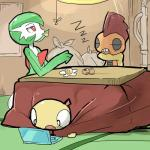 2016 computer eating eyes_closed female food gardevoir group humanoid kotatsu laptop male nintendo nishikunsp pokémon red_eyes scrafty scraggy sitting text video_games