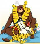 <3 abs bear bearlovestiger13 biceps brown_fur clothing duo feline fur juuichi_mikazuki male male/male mammal morenatsu muscular muscular_male nipples pecs swimsuit tiger torahiko_(morenatsu)  Rating: Safe Score: 4 User: Vallizo Date: November 13, 2015