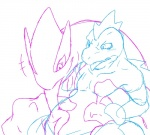 aji ambiguous_gender blush duo feral feraligatr from_behind goo interspecies licking lugia nintendo oral panting plain_background pokémon sketch teardrop tears tongue tongue_out video_games   Rating: Questionable  Score: 5  User: ragswift  Date: November 18, 2013