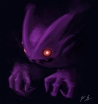 black_background floating_hands ghost graveyardshift haunter male nightmare_fuel nintendo pokémon pokémon_(species) purple_body red_eyes simple_background solo spirit undead video_games