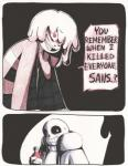 ... ? aftertale animated_skeleton bone bottle chara_(undertale) clothed clothing comic dialogue english_text evil_grin food grin hair human jacket ketchup loverofpiggies mammal nervous open_jacket protagonist_(undertale) sans_(undertale) skeleton smile sweat sweatdrop text traditional_media_(artwork) undead undertale video_games  Rating: Safe Score: 9 User: CursedLove Date: January 24, 2016