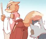 1boshi anthro blush butt canine clothing fox fox_mccloud fur japanese japanese_clothing kemono kimono looking_back mammal nintendo shrine_maiden star_fox video_games wolf  Rating: Questionable Score: 1 User: SkokiaanFox Date: July 03, 2015""