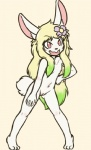 2015 anthro barefoot bianca_(sirbrownbear) blonde_hair blush casual_nudity cub female flat_chested flower flower_in_hair fluffy fluffy_tail fur green_hair hair lagomorph leporid loli long_hair mammal multicolored_hair navel nipples no_pupils nude open_mouth pink_eyes pink_nipples pink_nose plant pussy rabbit shouk simple_background smile solo teeth two_tone_hair white_fur young
