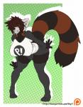 anthro bent_over bulge clothed clothing dickgirl facial_piercing intersex lip_piercing looking_at_viewer mammal nipple_bulge piercing red_panda smile solo standing suki_yamamoto thick_thighs veyll