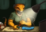 anthro bearded_dragon breasts brown_eyes desk dildo female lamp lizard reptile scalie sex_toy solo syrinoth tools   Rating: Questionable  Score: 9  User: chdgs  Date: July 20, 2014