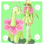 alternate_species clothing cosplay dress duo female feral green_hair hair human humanized long_hair low_res mammal meganium nintendo pokémon pokémon_trainer ranphafranboise video_games yellow_eyes