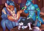 abs all_fours anal biceps black_fur blue_fur brown_fur brown_hair canine chair_position doggystyle female foot_fetish foot_lick from_behind fur green_fur green_penis group group_sex hair honovy humanoid_penis kai_yun-jun kangaroo lagomorph leg_grab legs_up licking male male/female male/male mammal marsupial muscular nhala nude paw_fetish pecs penis rabbit sex spread_legs spreading techroo tongue tongue_out vein white_fur wolf  Rating: Explicit Score: 30 User: TechRoo Date: November 04, 2015