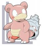 2014 ambiguous_gender anthro blush censor_bar censored claws doneru duo erection feral grey_eyes male nintendo open_mouth penis pink_body pokémon precum red_penis shell slowbro sweat teeth video_games