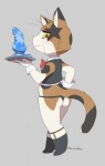 2017 anthro bow_tie butt clothing cub dildo domestic_cat felid feline felis gloves grey_background handwear harusuke kemono legwear looking_back male mammal sex_toy shota simple_background smile socks sock_suspenders solo standing thong underwear waiter whiskers wrist_cuff yellow_eyes young