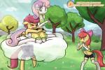 anthro anthrofied apple_bloom_(mlp) applebloomers blush bow clothing cloud collar cute dress elbow_gloves equine eyes_closed female flat_chested friendship_is_magic gloves hair hair_bow horn horse jeans kneeling legwear lumineko mammal midriff multicolored_hair my_little_pony navel orange_eyes pegasus pink_hair pony red_hair scared scootaloo_(mlp) shorts stockings sweetie_belle_(mlp) thigh_highs tree unicorn wings young  Rating: Safe Score: 6 User: lumineko Date: September 24, 2015