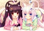 :3 :d absurd_res all_fours amber_eyes animal_ears bed bed_sheet black_hair blanket blue_eyes blush bow breasts brown_eyes brown_hair cat cat_ears cat_tail chocolat_(sayori) clothing duo feline female fur hair hair_ornament hair_ribbon hairclip hanging_breasts hi_res humanoid inner_ear_fluff jewelry long_hair looking_at_viewer mammal neko_girls open_mouth open_shirt pajamas panties pigtails pin pink_hair raised_tail ribbons sayori@nekoworks shirt slit_pupils small_breasts smile tail_ornament tail_ribbon tongue underwear vanilla_(sayori) wall_tapestry white_hair   Rating: Questionable  Score: 38  User: AnacondaRifle  Date: May 25, 2014