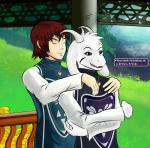 2016 <3 anthro asriel_dreemurr black_sclera boss_monster brown_hair caprine clothing duo flower fur goat hair hi_res horn hug human male male/male mammal monster open_mouth plant protagonist_(undertale) robes text tongue undertale unknown_artist video_games white_fur  Rating: Safe Score: 1 User: Muddybunny Date: February 08, 2016