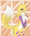 abstract_background anthro bajiru bandai big_breasts black_nose blue_eyes breasts canine chest_tuft digimon female fox fur hi_res looking_at_viewer mammal pinup pose renamon solo standing tuft   Rating: Safe  Score: 14  User: queue  Date: October 01, 2011