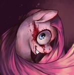 2011 blood earth_pony equine female friendship_is_magic grin heartagram horse looking_at_viewer looking_back mammal menacing my_little_pony nightmare_fuel pinkamena_(mlp) pinkie_pie_(mlp) pony signature smile solo teeth where_is_your_god_now