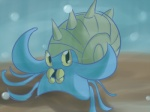 ambiguous_gender bubble looking_at_viewer nintendo omastar pokémon shell solo spikes teeth tentacles underwater video_games water whatsapokemon yellow_eyes