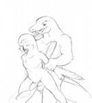 abdominal_bulge anal anal_penetration animal_genitalia animal_penis anthro arm_grab avian balls balls_touching beak biceps big_dom_small_sub big_muscles big_penis biped bird cheek_tuft chest_tuft collarbone crocodile crocodilian cum cumshot digital_drawing_(artwork) digital_media_(artwork) domination duo ejaculation erection eyes_closed fangs feathered_wings feathers fist from_behind_position front_view grabbing_from_behind greyscale half-closed_eyes interspecies larger_male looking_at_another looking_at_partner looking_pleasured male male/male male_domination male_penetrating monochrome muscular muscular_male nude nyar on_one_leg open_mouth orgasm orgasm_face owl pecs penetration penis prison_guard_position pubes questionable_consent raised_leg rape_face reptile rough_sex sagisou scalie scutes sex sharp_teeth simple_background size_difference sketch smaller_male smile snout snowy_owl spots spread_legs spreading standing tail_feathers teeth thick_neck tongue tongue_out tuft white_background winged_arms wings