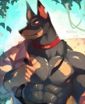 2014 abs anthro black_fur black_nose canine clothing collar doberman dog eyewear fur glasses male mammal muscles necktie null-ghost outside partially_clothed pecs red_eyes shirt solo   Rating: Safe  Score: 12  User: donteven  Date: March 04, 2015