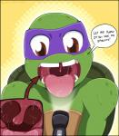 2014 anthro close-up dialogue donatello_(tmnt) english_text flashlight green_skin incredibleediblecalico light male mask mouth_shot nude open_mouth orange_background red_eyes reptile scalie shell simple_background solo speech_bubble teenage_mutant_ninja_turtles teeth text tongue tongue_out turtle uvula  Rating: Safe Score: -2 User: GameManiac Date: January 21, 2016
