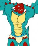 abs biceps boxers bulge bulky clothing dragon druddigon flexing looking_at_viewer male muscles nintendo open_mouth pecs plain_background pokémon pose reptile scalie solo spikes underwear video_games white_background wings   Rating: Questionable  Score: 4  User: Guilmor  Date: February 02, 2015
