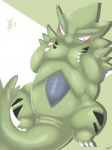 2015 3_toes abstract_background achi animal_genitalia black_eyes blush breasts claws cloaca female feral looking_down lying mammal nintendo nude pokémon simple_background solo sweat toe_claws toes tyranitar video_games  Rating: Explicit Score: 6 User: N7 Date: March 10, 2015