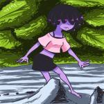 2017 amphibian anthro barefoot clothed clothing female frog hair hair_over_eyes inkyfrog inkyfrog_(character) midriff outside parody purple_hair purple_skin solo walking webbed_handsRating: SafeScore: 2User: JAKXXX3Date: May 18, 2017