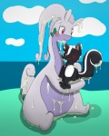 2015 beach blush cute dragon duo eyes_closed female feral goodra jovial male mammal messy nintendo open_mouth outside pokémon red_eyes scalie seaside skunk slime smile video_games  Rating: Safe Score: 0 User: Jovial Date: September 20, 2015