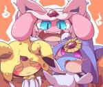 azelf blue_eyes blush eyes_closed feral group hat legendary_pokémon mesprit multi_tail nettsuu nintendo open_mouth orange_background pokémon red_eyes simple_background smile uxie video_games white_body