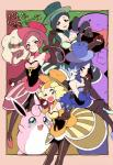 ambiguous_gender amezawa_koma black_hair blonde_hair blue_eyes blue_hair blush clothed clothing female feral fur green_eyes group hair hat hi_res human looking_at_viewer mammal nintendo one_eye_closed open_mouth orange_eyes pachirisu pokéball pokémon pokémon_trainer red_eyes red_hair rodent smile swalot tongue video_games whimsicott white_fur wigglytuff