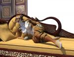 2016 3d_(artwork) anthro black_fur black_nose breasts brown_fur digital_media_(artwork) featureless_breasts feline female fur hand_on_hip hattonslayden looking_at_viewer lying mammal navel nude on_side pillow purple_eyes smile sofa solo spots stripes tiger white_fur  Rating: Questionable Score: 6 User: GameManiac Date: April 28, 2016