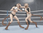 anthro boxing boxing_gloves breasts cat clothed clothing duo erect_nipples feline female fighting_ring gexon gloves inner_ear_fluff mammal markings navel nipples panties socks_(marking) sport topless underwear  Rating: Questionable Score: 14 User: NightSerfer Date: February 05, 2016