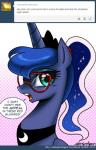 2014 blue_eyes blue_hair cute english_text equine eyewear female feral friendship_is_magic glasses hair horn john_joseco long_hair mammal my_little_pony princess_luna_(mlp) text winged_unicorn wings   Rating: Safe  Score: 14  User: Robinebra  Date: February 20, 2014