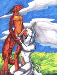 2002 anthro ayame_emaya balls blue_hair couple dragon duo equine erection grass hair hooves horse interspecies irving licking love male male/male mammal nipples nude oral penis scalie sex snowdrop tongue tongue_out  Rating: Explicit Score: 6 User: syrmat Date: November 08, 2013""