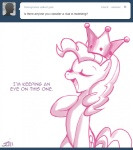 2011 ask_princess_molestia crown cutie_mark earth_pony english_text equine eyes_closed female feral friendship_is_magic hair horse john_joseco long_hair mammal monochrome my_little_pony open_mouth pinkie_pie_(mlp) pony solo text tumblr  Rating: Safe Score: 8 User: Shujin Date: October 17, 2011