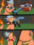 ambiguous_gender anthro belly bulge charmeleon colza comic duo hybrid mouth_shot nintendo oral_vore pokémon riolu slowking stomach swallowing teeth tongue video_games vore  Rating: Questionable Score: -2 User: Mur Date: June 06, 2015""