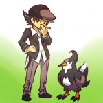 ambiguous_gender beak black_hair claws clothed clothing cosplay duo feral flat_cap footwear fully_clothed gradient_background hair hand_on_hip hat hitec holding_object human jacket looking_at_viewer male mammal nintendo nude pants pokémon pokémon_trainer shirt shoes short_hair simple_background standing staravia toony video_games wingsRating: SafeScore: 1User: RiversydeDate: August 24, 2010