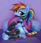 2015 anus bdsm bondage bound butt clitoris clothing cutie_mark dock drooling equine female feral friendship_is_magic gag hair hooves insertion legwear looking_at_viewer lying mammal multicolored_hair my_little_pony on_side pegasus penetration pillow purple_eyes pussy pussy_juice rainbow_dash_(mlp) rainbow_hair riding_crop ring_gag rope rubber saliva sex_toy solo stoic5 tail_wrap tongue tongue_out underhoof wings  Rating: Explicit Score: 53 User: lemongrab Date: June 14, 2015""