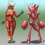 abdomen abs absurd_res anthro anthrofied arthropod blaziken blue_eyes claws duo female hi_res insect male muscles muscular_female mykiio nintendo pincers pokémon scizor thumbs_up video_games wide_hips wings yellow_eyes  Rating: Questionable Score: 4 User: chdgs Date: July 11, 2015