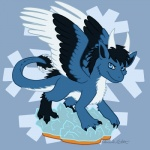 black_claws black_feathers black_hair blue_background blue_eyes blue_feathers blue_fur claws cute dragon feathered_wings feathers feral fluffy fur furred_dragon hair hannah_etter horn ice jitzu looking_at_viewer male markings scalie signature simple_background smile snowflake socks_(marking) solo standing tail_tuft tuft white_feathers white_fur white_horn wings  Rating: Safe Score: 1 User: 99735 Date: June 28, 2014