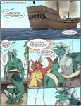 """abs anthro beard chubby comic dragon english_text facial_hair gorgon_(zerofox) green_skin it's_a_trap male muscles necklace pecs pirate pirate_boat red_skin scalie sea text water zerofox1000  Rating: Safe Score: 5 User: Lindbrum Date: May 05, 2015"""""""