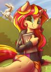 2015 absurd_res anthro book clothing cloud equestria_girls equine female hair hi_res horn long_hair looking_at_viewer luke262 mammal my_little_pony outside sitting sky smile solo sunset_shimmer_(eg) two_tone_hair unicorn   Rating: Safe  Score: 22  User: lemongrab  Date: March 15, 2015