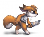 anthro blue_eyes canine chibi fox holding holding_weapon knife large_eyes male mammal melee_weapon silverfox5213 simple_background solo sword weapon white_background  Rating: Safe Score: 1 User: Riversyde Date: September 22, 2010