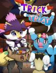 2016 absurd_res anthro basket blush braixen brionne candy canine comfey costume cute duo female food gate halloween hi_res holidays looking_at_viewer mammal marine mimikyu mismagius nintendo open_mouth phantump pink_eyes pinniped pokémon purple_eyes rexcalibur_(artist) sack text video_games