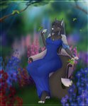 2020 anthro avian bird black_body black_fur breasts canid canine clothed clothing dafka digital_media_(artwork) female fox fur group hi_res hummingbird mammal smile