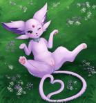 2019 <3 <3_tail 3_toes absurd_res blush choker donutella eeveelution espeon female feral flower fur grass hi_res jewelry looking_at_viewer lying mammal necklace nintendo on_back one_eye_closed pawpads paws pink_fur plant pokémon pokémon_(species) pussy solo spreading spread_legs toes video_games winkRating: ExplicitScore: 118User: ZabozamojoDate: May 02, 2019