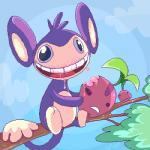 aipom ambiguous_gender anthro cherry cherubi duo eating food fruit looking_at_viewer low_res mammal monkey nintendo outside pokémon primate saliva simple_background sky tail_hand teeth tree vaporotem video_gamesRating: SafeScore: 3User: DeltaFlameDate: February 24, 2015