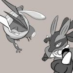 ambiguous_gender amphibian bird's-eye_view black_(artist) canine duo frog greninja grey_background high-angle_view looking_at_viewer low_res lucario mammal nintendo pokémon simple_background tongue video_games  Rating: Safe Score: 4 User: Rad_Dudesman Date: February 01, 2016