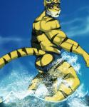 anthro back biceps big_muscles black_fur blue_eyes butt clothed clothing cursedmarked eyewear fangs feline fur goggles half-dressed looking_at_viewer male mammal markings morenatsu muscles one_eye_closed open_mouth outside pink_nose pose sea sky solo standing stripes swimsuit teeth tiger tongue topless torahiko_ooshima water wet yellow_fur yutari   Rating: Questionable  Score: 11  User: H4CH1W4AN  Date: September 08, 2013