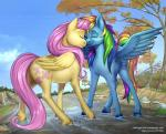 2013 blue_feathers blue_fur cartoonlion creek cutie_mark day detailed_background duo equine eyes_closed feathered_wings feathers female feral fluttershy_(mlp) friendship_is_magic fur hair hooves mammal multicolored_hair my_little_pony nuzzling outside pegasus rainbow_dash_(mlp) rainbow_hair sky smile standing vest_(artist) wings yellow_feathers yellow_fur  Rating: Safe Score: 0 User: Millcore Date: July 31, 2016