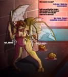 2017 4_breasts absurd_res anthro arthropod biobasher breasts brown_hair claws dialogue dragon egg female hair hi_res horn hybrid insect leaning multi_arm multi_breast multi_limb nipples nude open_mouth oviposition panting pregnant pussy solo tongue tongue_out transformation unseen_character wings